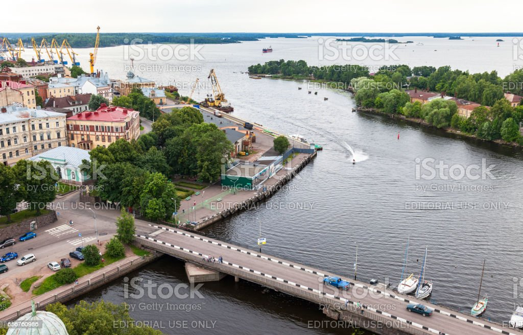 Top view on the Old City from the observation deck of the Vyborg Castle in Vyborg, Russia stock photo