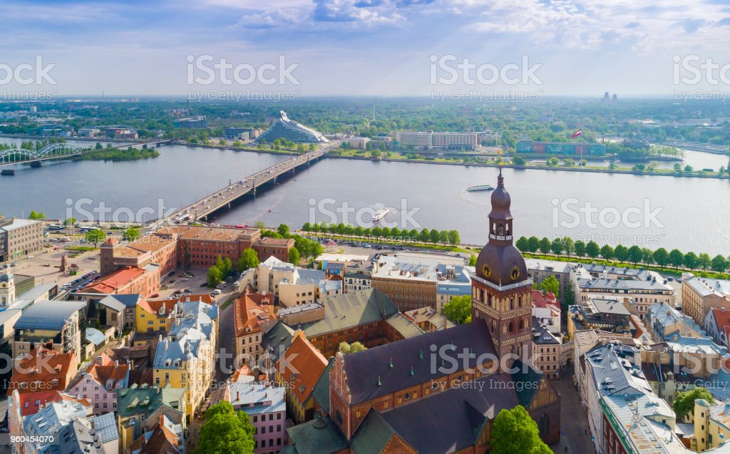 Top view on the old town with beautiful colorful buildings and streets in Riga city royalty-free stock photo