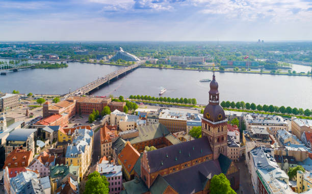 Top view on the old town with beautiful colorful buildings and streets in Riga city stock photo