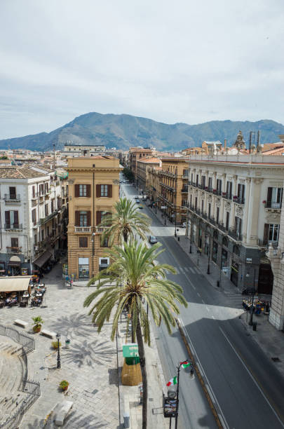 Top view on Via Roma in Palermo, Italy stock photo