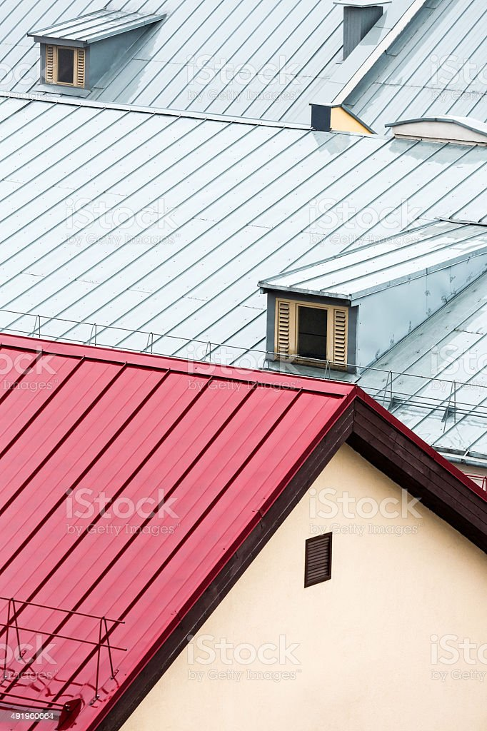 top view on wet metal roofs stock photo