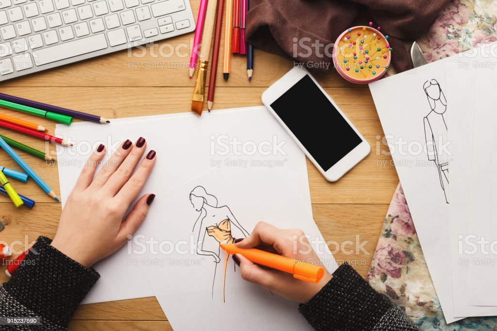 Top View On Woman Designer Drawing Clothes Sketches Stock Photo Download Image Now Istock
