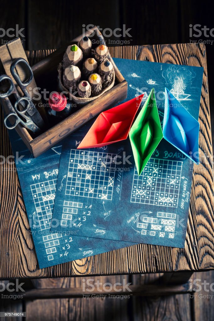 Top View Opf Battleship Paper Game With Coloured Ships Royalty Free Stock Photo