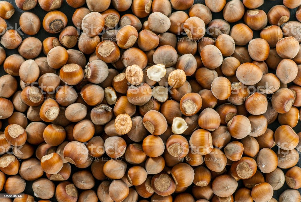top view over a pile of raw hazelnuts - Royalty-free Agriculture Stock Photo