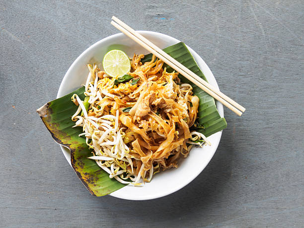 Top view pad thai of thai food noodles style - Photo
