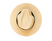 トップビューパナマ帽白背景