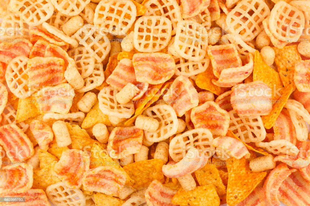 top view pile of different junk food types foto stock royalty-free