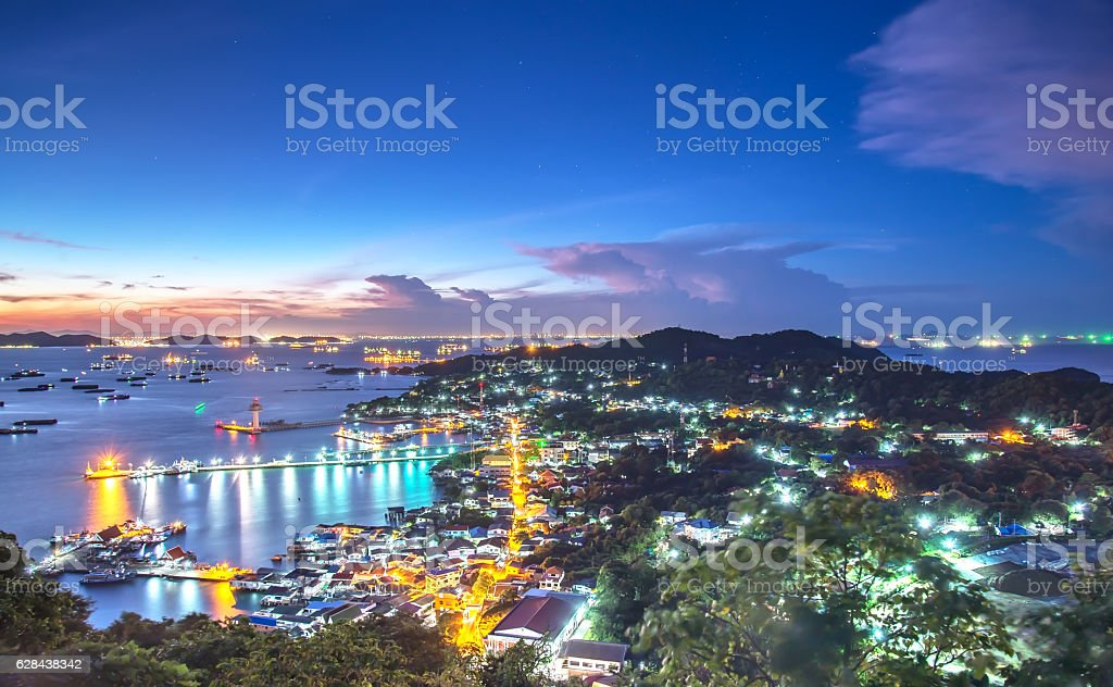 Top view point city of Koh Sichang jetty stock photo
