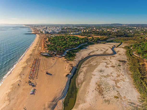 Top view Quarteira beach. Aerial. stock photo
