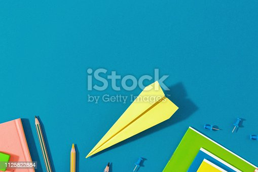 istock Top view school background. Flat lay back to school 1125822884