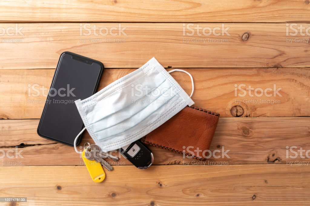 Top View Shot Face Mask Wallet Mobile Phone And Keys New Normal Concept  After Covid19 Coronavirus 2020 Stock Photo - Download Image Now - iStock