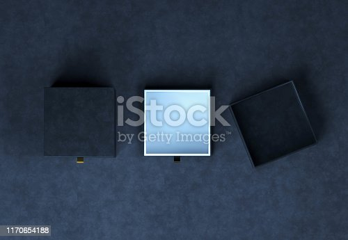 istock Top view square Black Gift Box mockup on black background, 3d rendering. Luxury packaging box for premium products 1170654188