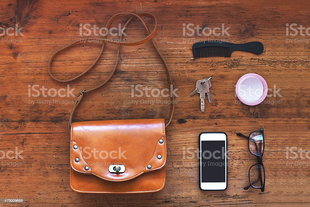 top view - stuff of woman bag stock photo