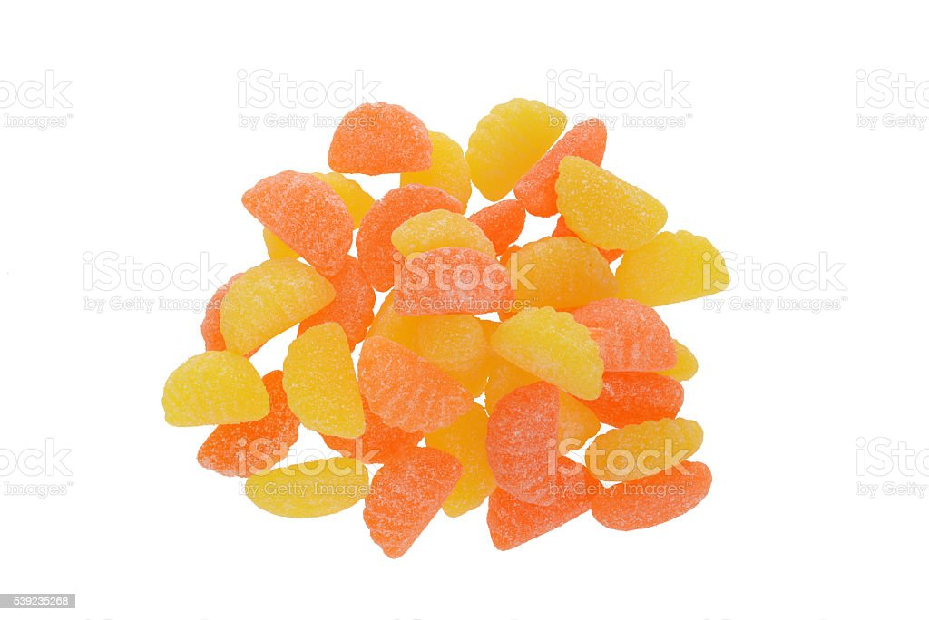 top view sugar coated orange and lemon candy royalty-free stock photo