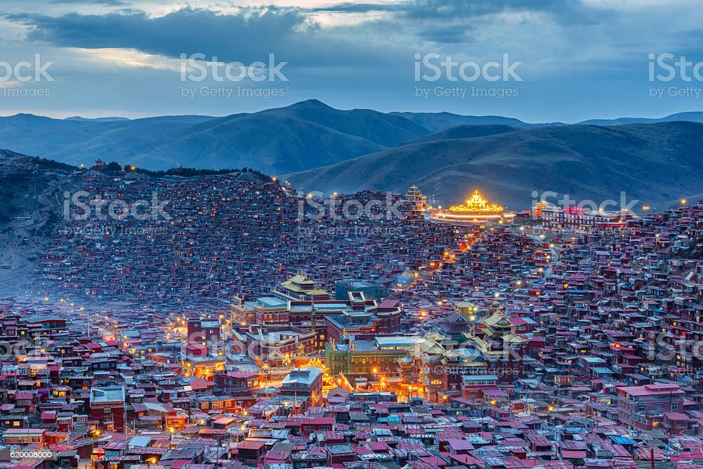 Top view sunset time at Larung gar (Buddhist Academy) stock photo