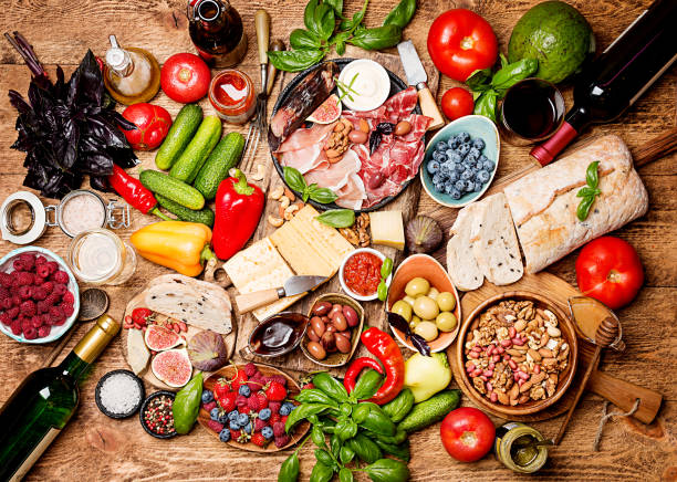 top view table full of food - mediterranean culture stock photos and pictures