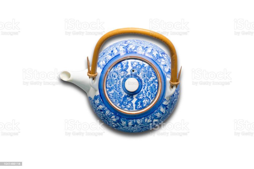 Üstten görünüm çay potu üzerinde beyaz backgorund izole. stok fotoğrafı