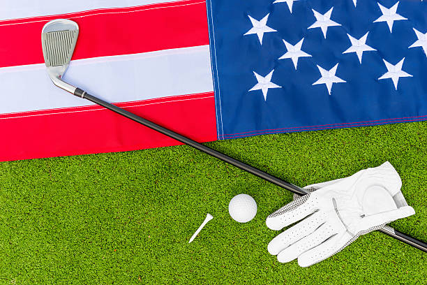 top view - the American flag and  golf stock photo