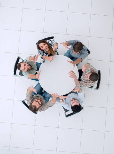 top view. the business team is preparing for a brainstorming stock photo
