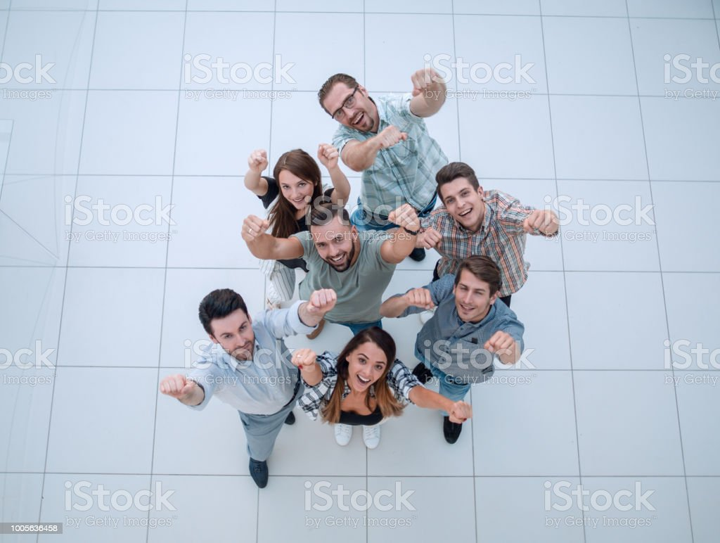 top view. the business team shows its success stock photo
