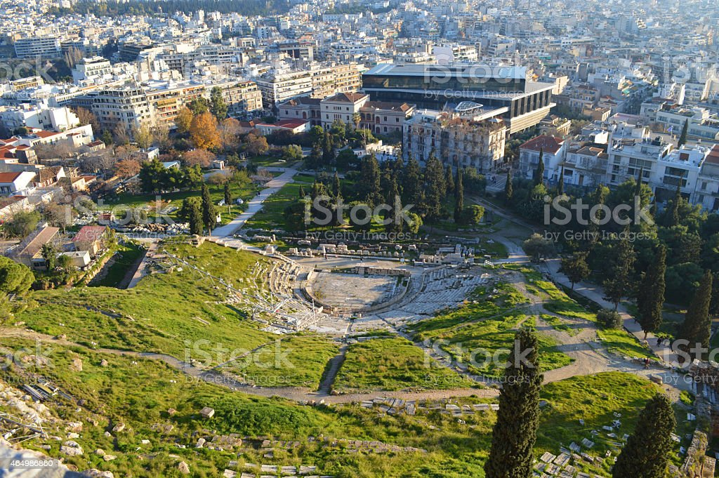 top view  theater from Delphi in the acropolis of athens stock photo
