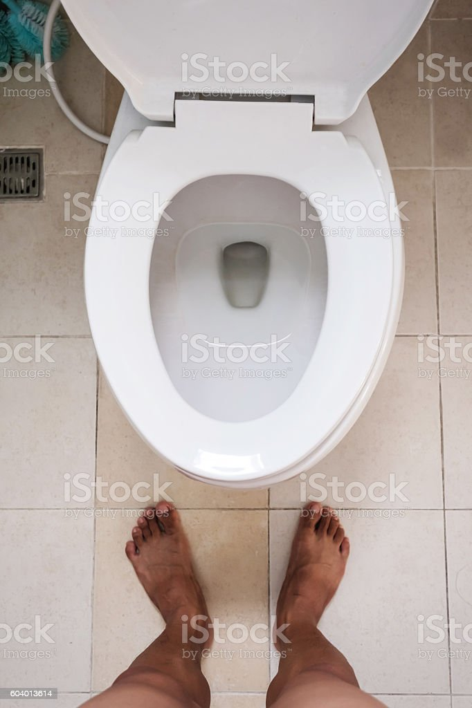 Top View Toilet Lavatory With Bare Feet Standing Stock Photo & More ...