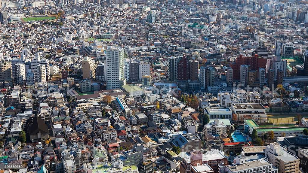 Top view, Tokyo residence area downtown royalty-free stock photo