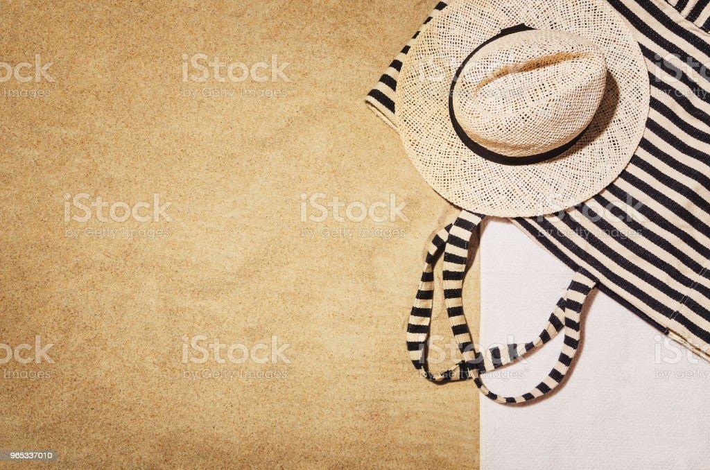 Top view towel on sandy beach. Background with copy space zbiór zdjęć royalty-free
