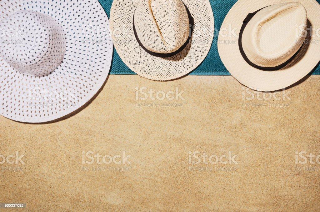 모래 해변에서 상위 뷰 수건입니다. 배경 복사 공간 - 로열티 프리 0명 스톡 사진