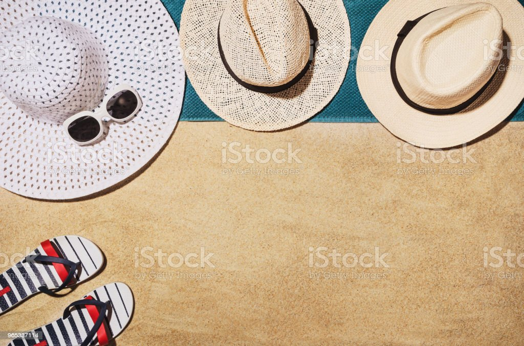 Top view towel on sandy beach. Background with copy space royalty-free stock photo