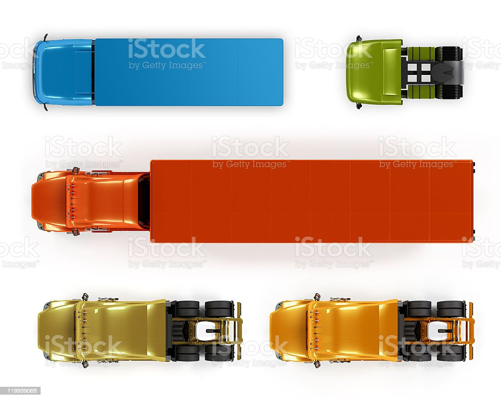 Top view trucks isolated on white stock photo