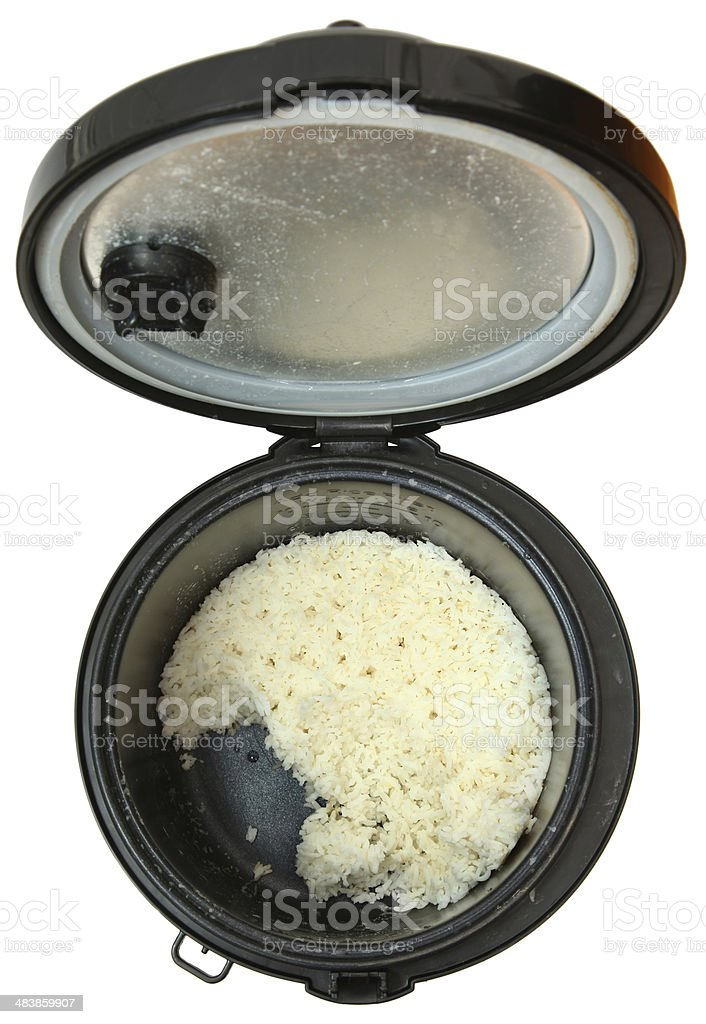 Top View Used Rice Cooker stock photo