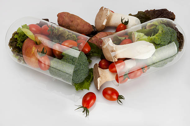 top view vegetable capsule stock photo