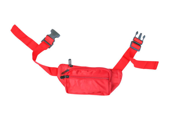 top view vivid red waist bag isolated on white background - waist bag stock photos and pictures