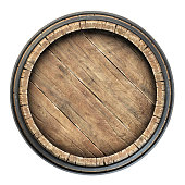 Top view wine barrel over white background 3d illustration