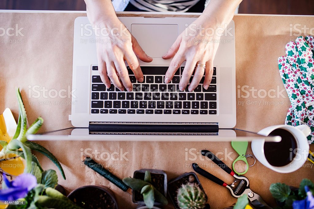 Top view, woman's hand, working enviroment stock photo