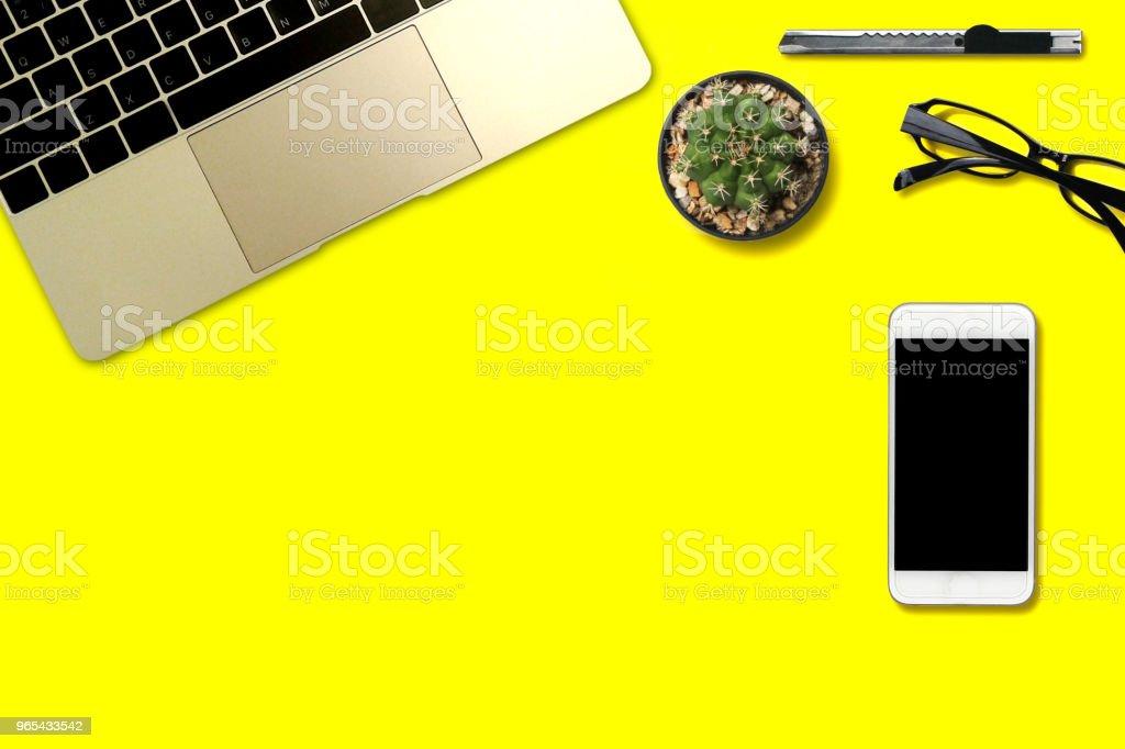 Top view yellow desk and accessories zbiór zdjęć royalty-free