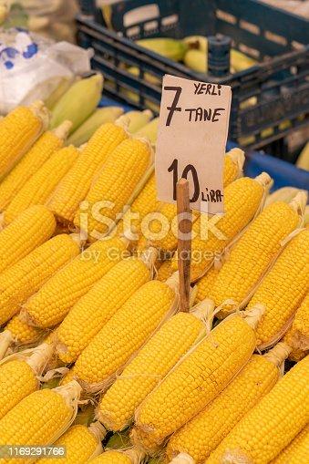 Top view,Fresh corn displayed on food market in Turkey.