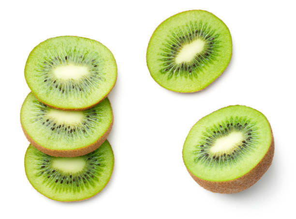 top viewkiwi fruit isolated on white background - kiwi imagens e fotografias de stock
