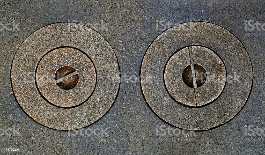 Top wiew of old cast iron stove royalty-free stock photo