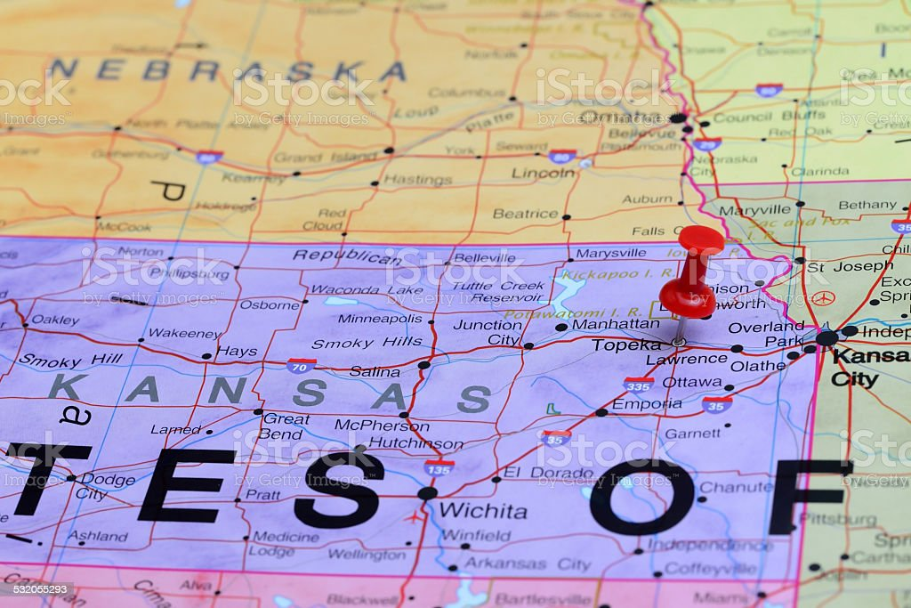 Topeka pinned on a map of USA stock photo