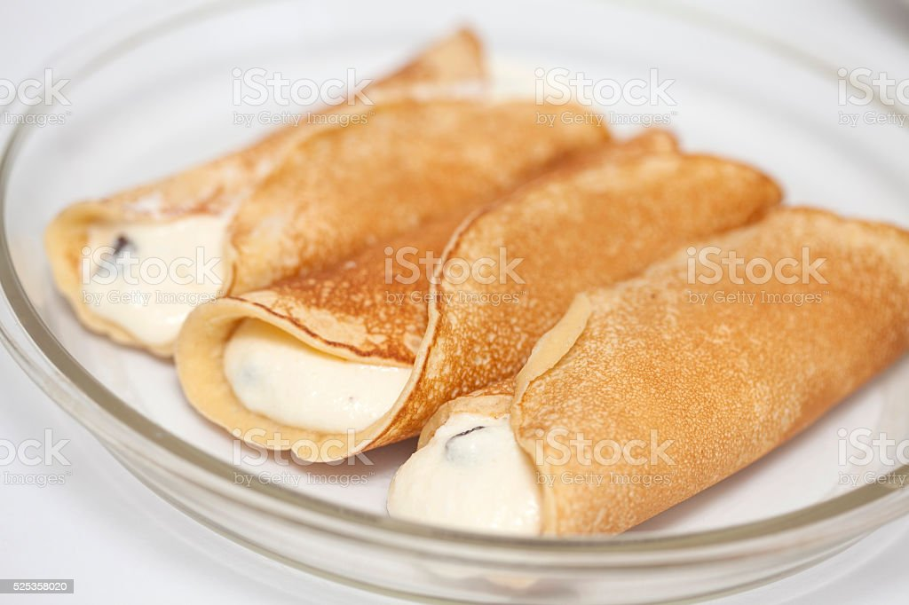 Topfen fullen filled crepes stock photo