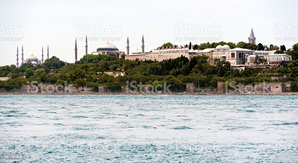 Topkapi Palace, Hagia Sophia and Blue Mosque in Istanbul stock photo
