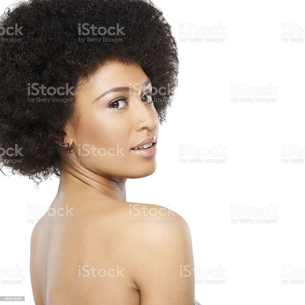 American Beauty Topless topless african woman looking over her shoulder stock photo