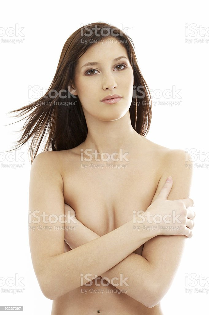 topless brunette with long hair royalty-free stock photo