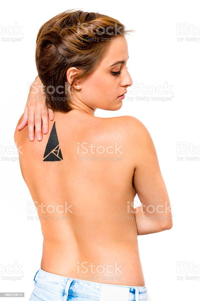 Topless gender fluidity young woman with attitude and short hair stock photo