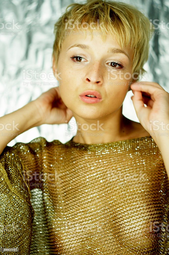 topless girl in fishnet royalty-free stock photo