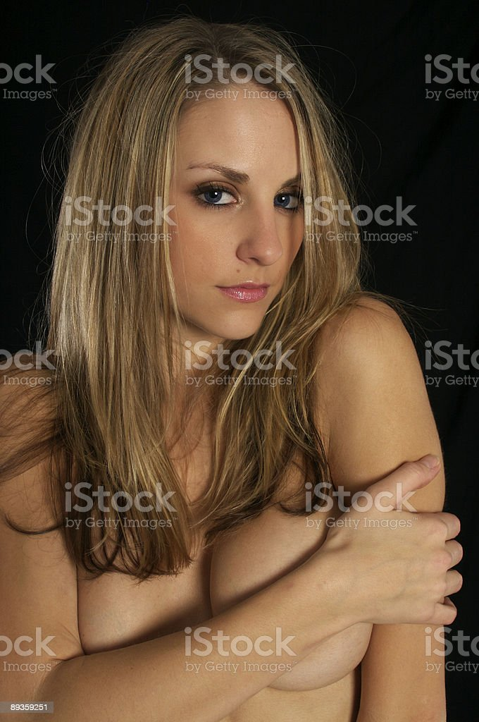 Topless girl with beautiful blue eyes royalty free stockfoto