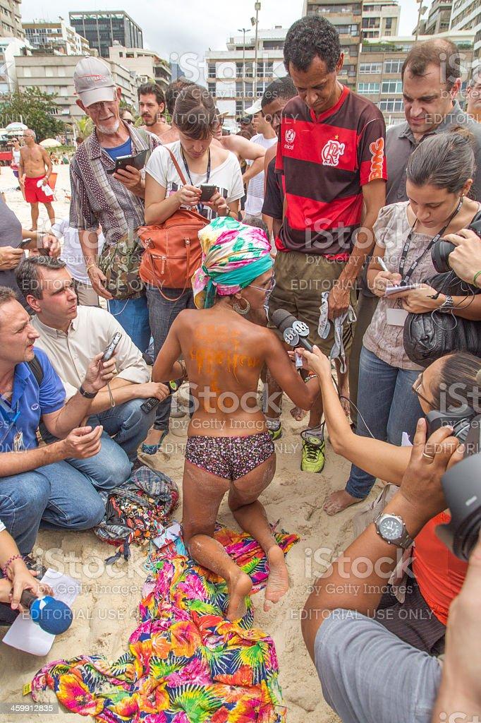 Topless in Ipanema Beach stock photo