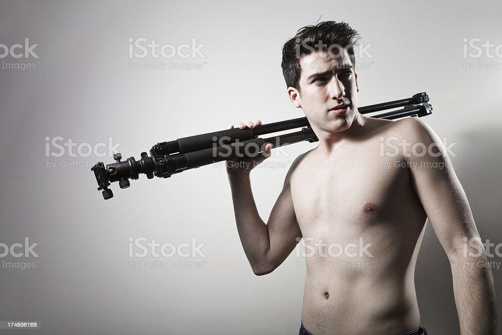 topless latina young man royalty-free stock photo